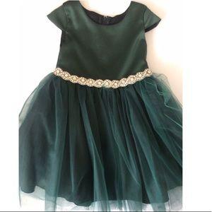 Hunter Green Rhinestone Holiday Dress 2T